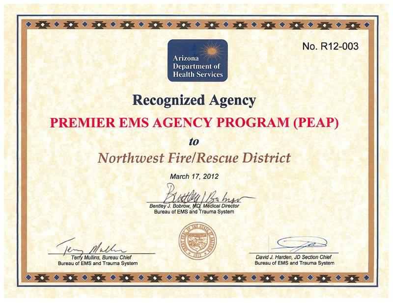 Premier EMS Agency Certificate